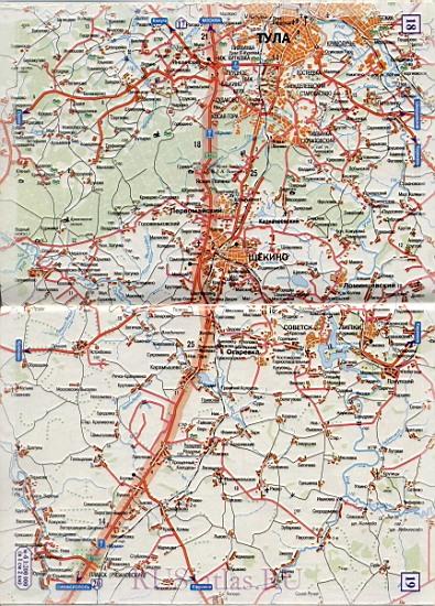 Карта Тула Орел. Детальная