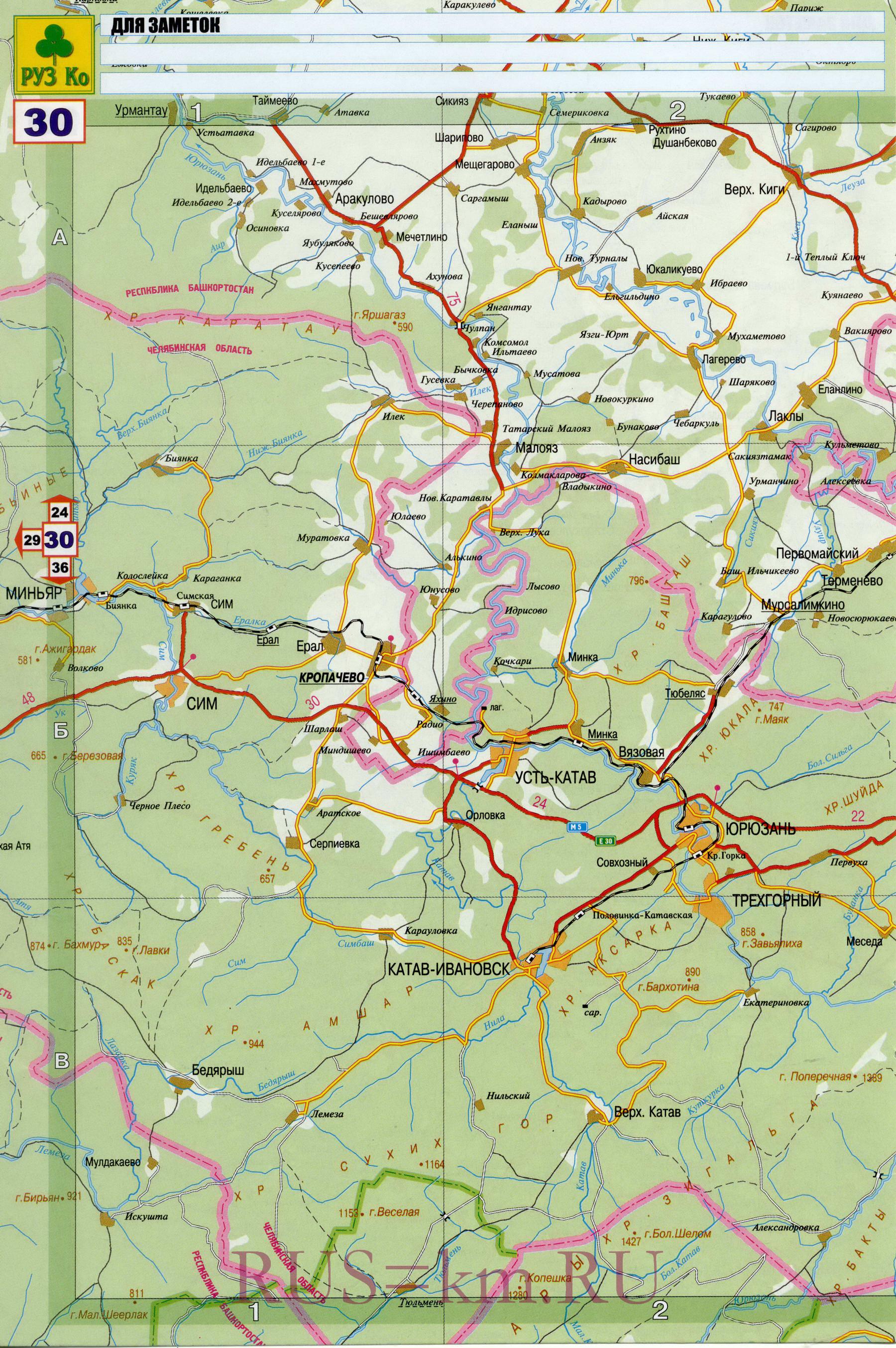 Карта башкортостана подробная карта