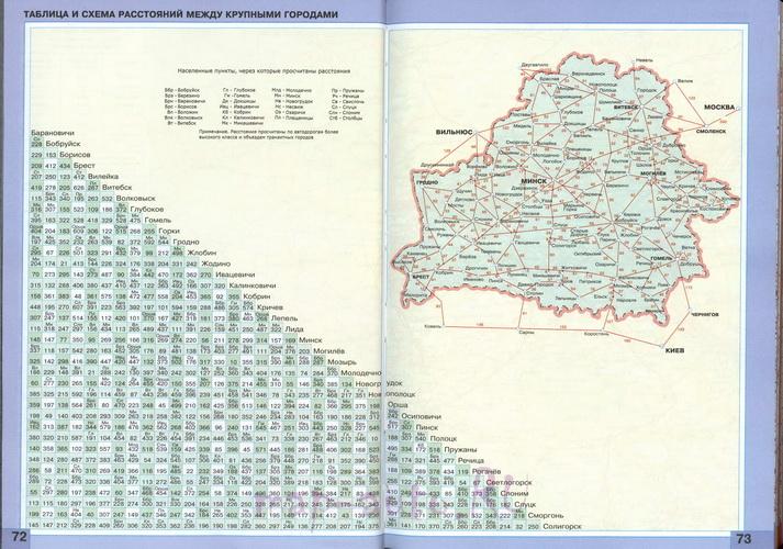 Скачать бесплатно карту схему автомобильных дорог Белоруссии с таблицей расстояний между городами.