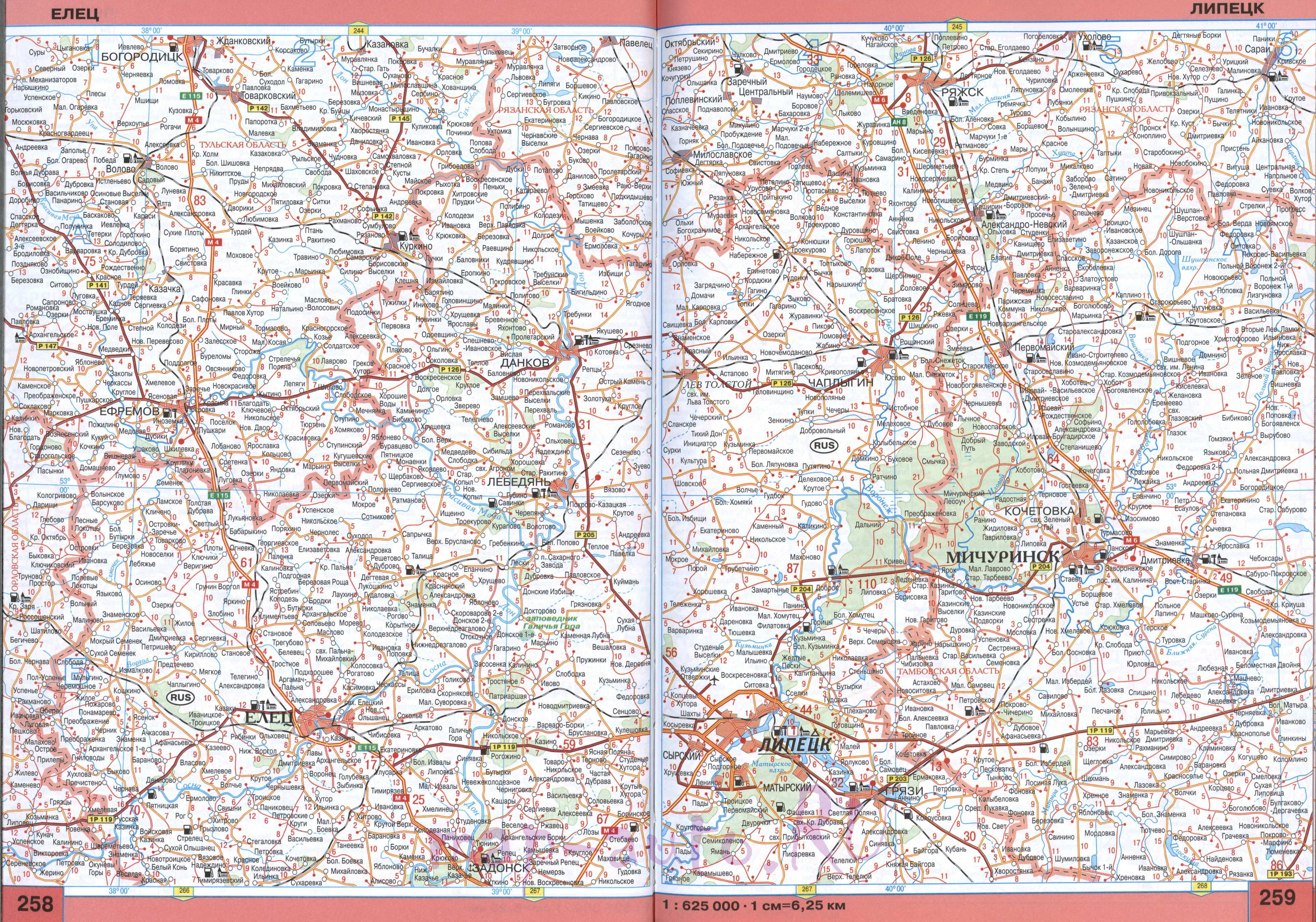 карта дорог липецкой области:
