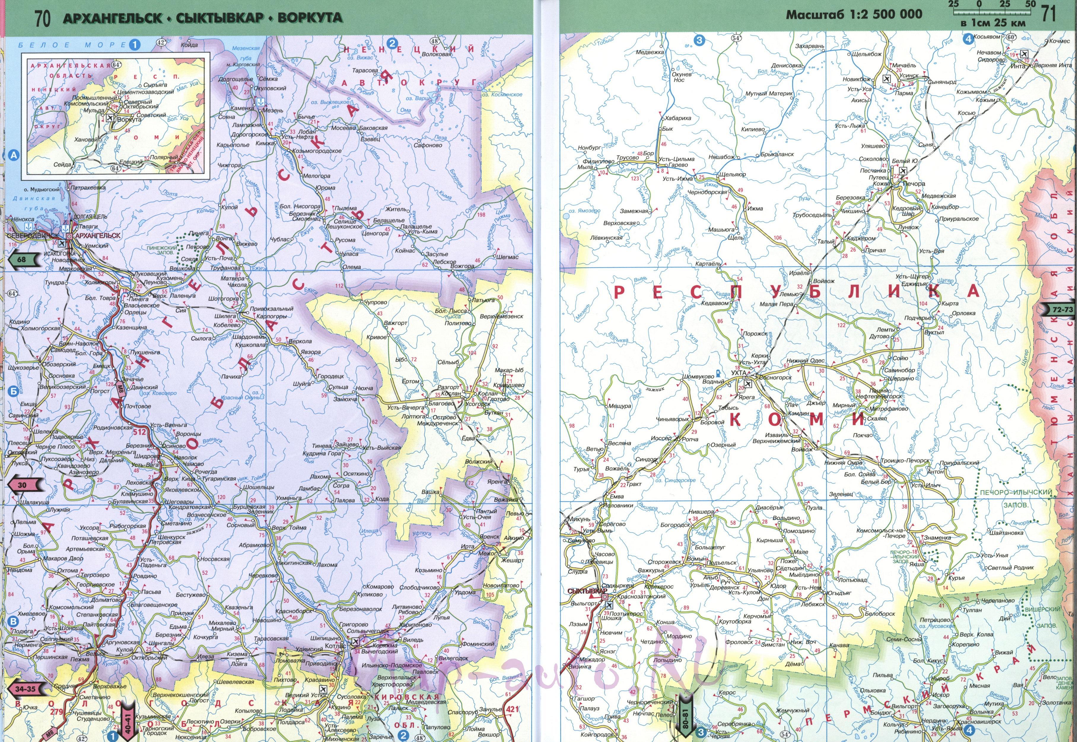 Карта Коми. Подробная карта дорог республики Коми ...: http://map-auto.ru/map1606603_0_0.htm