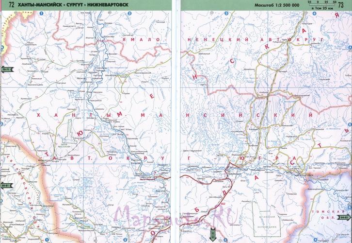 Подробная карта ХМАО масштаба