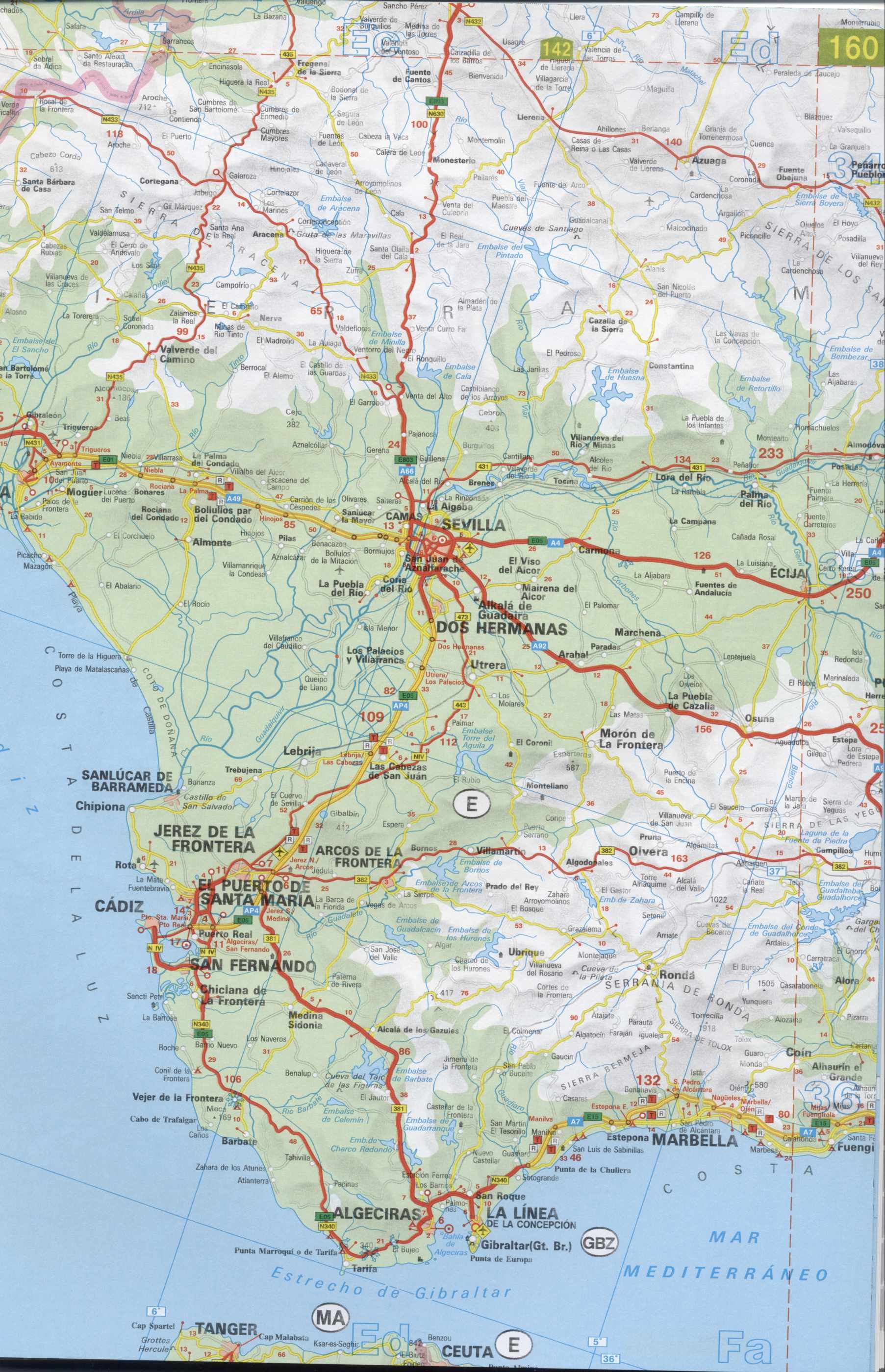 Карта автомобильных дорог испании