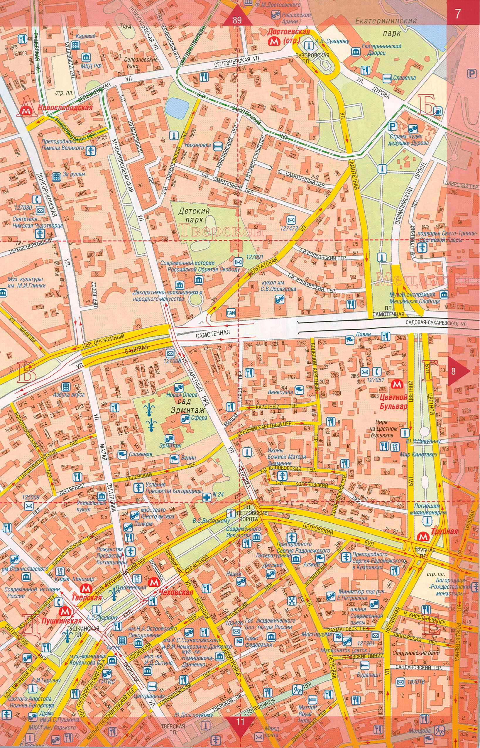 Карта центра Москвы. Карта москвы с улицами и домами ...