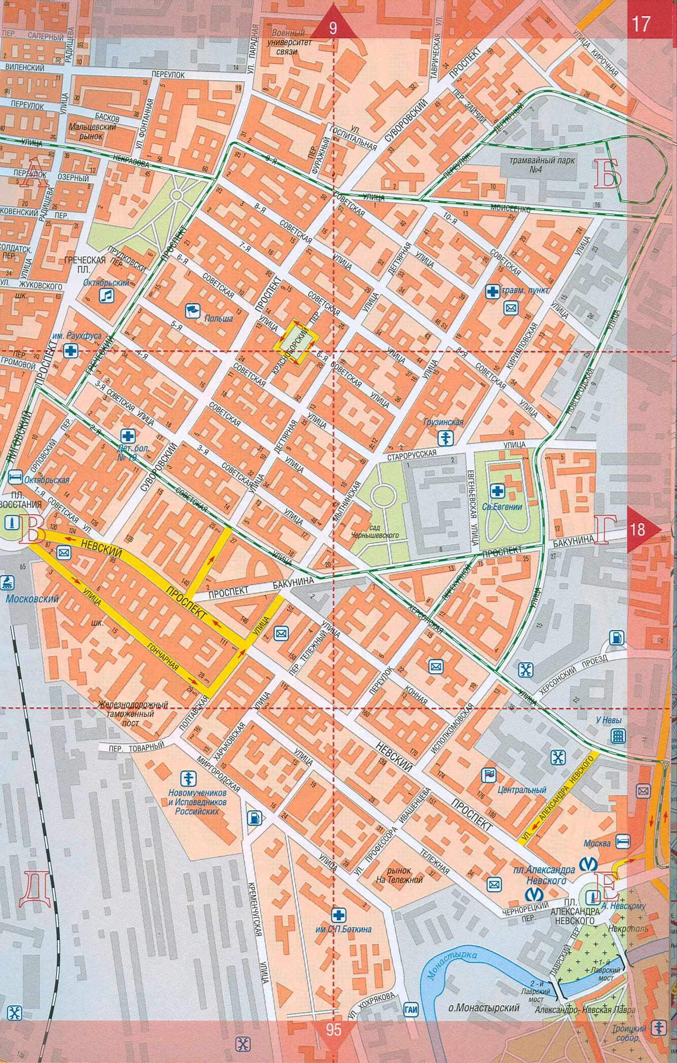 Города подробная карта спб улицы