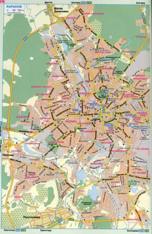 Карта дорог харькова подробная карта