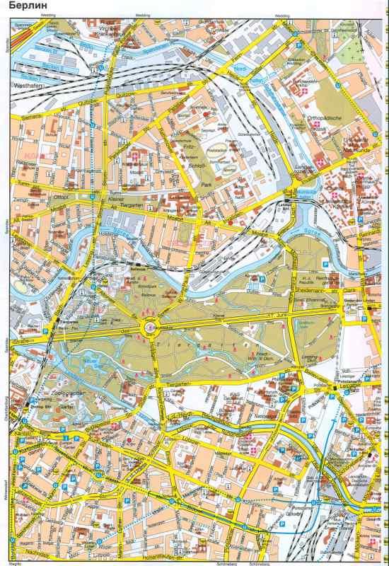 Карта Берлина - план центра города Берлина с указанием заправок, стоянок, схемы проезда авто транспорта.