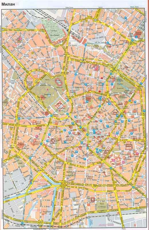 Italiya Karta Milana Podrobnaya Karta Centra Goroda Milan