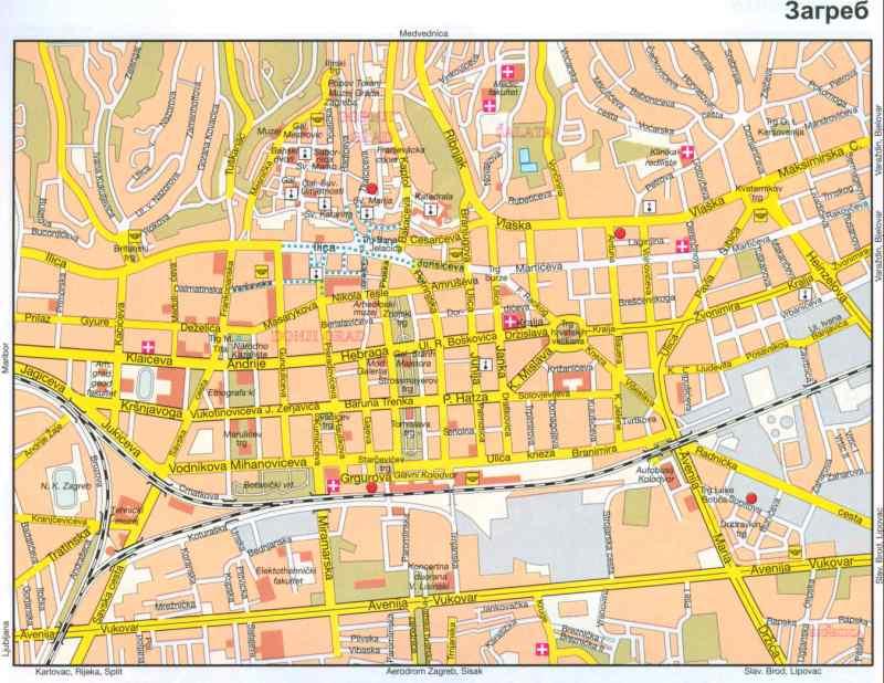 Хорватия карта центра загреба