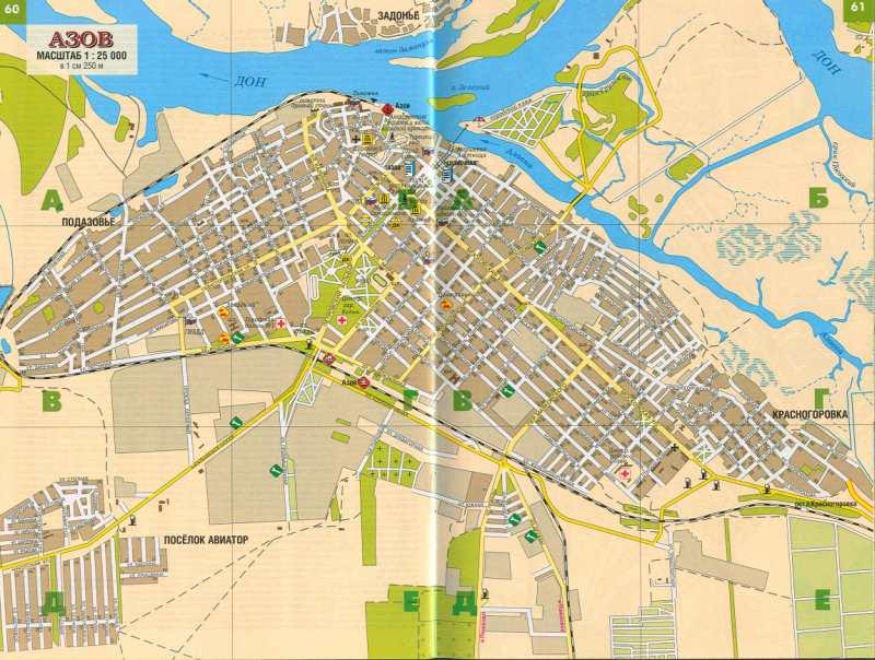 четкая карта города Азов,