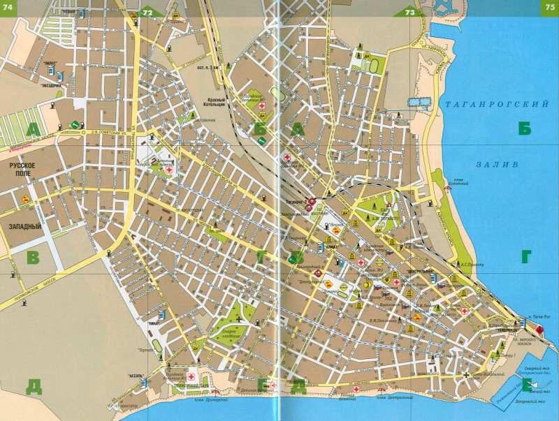 Карта Таганрога. Подробная