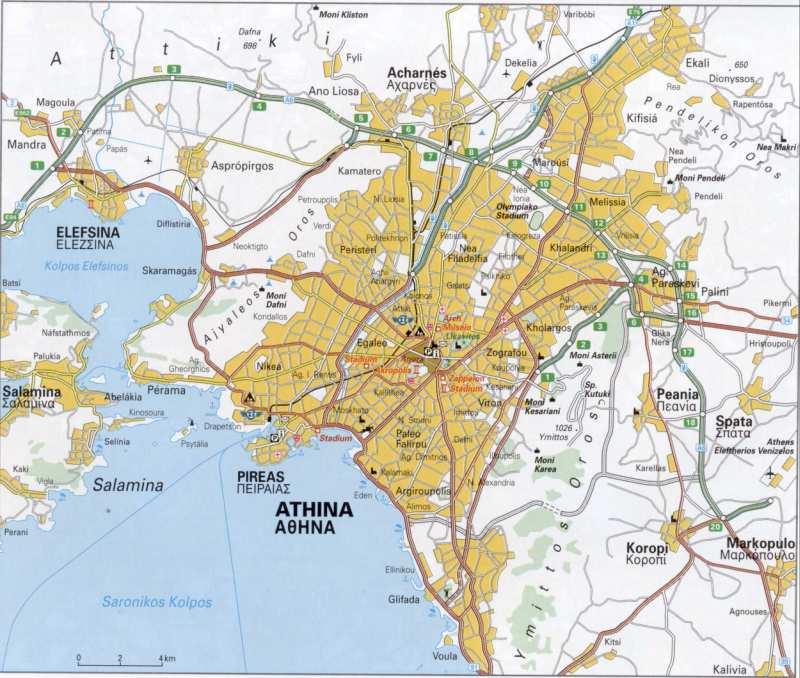 Греция, транспортная карта