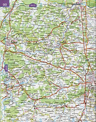 Карта Тульской области.