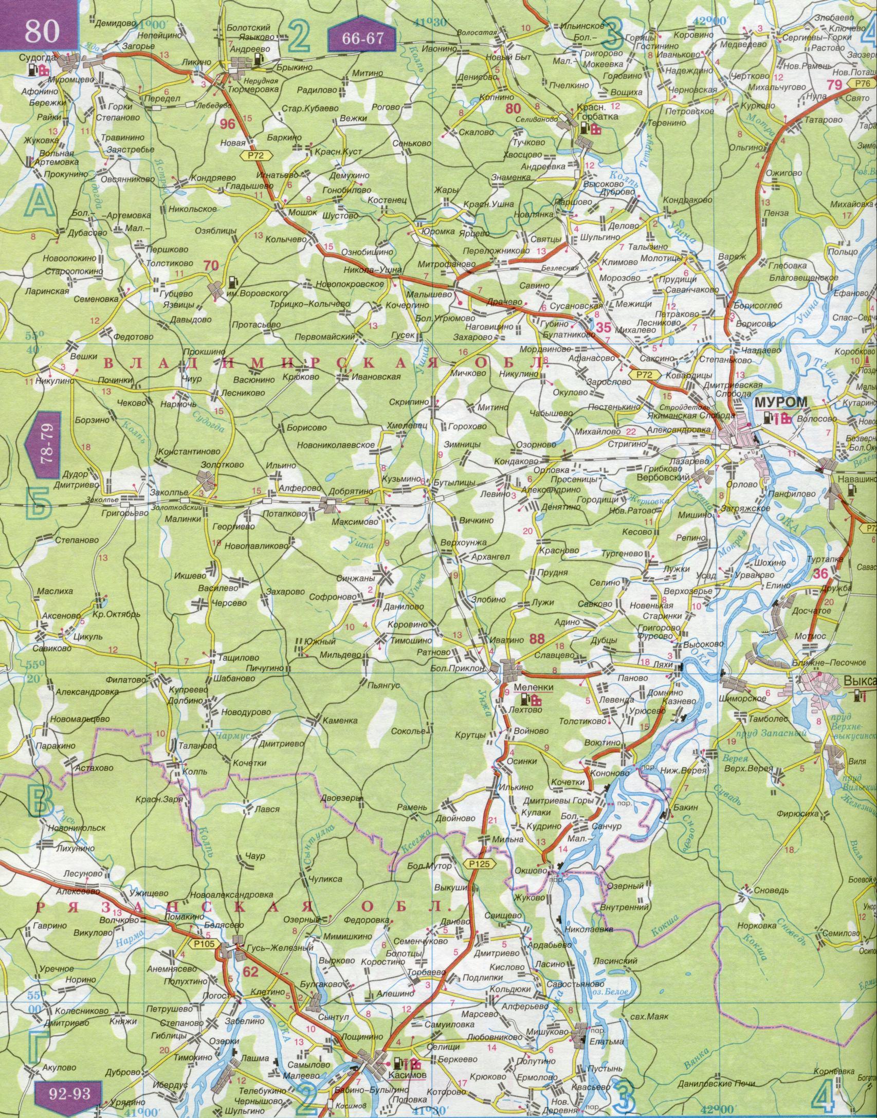 Подробная карта дорог Нижегородской, Костромской, Ивановской, Владимирской областей.