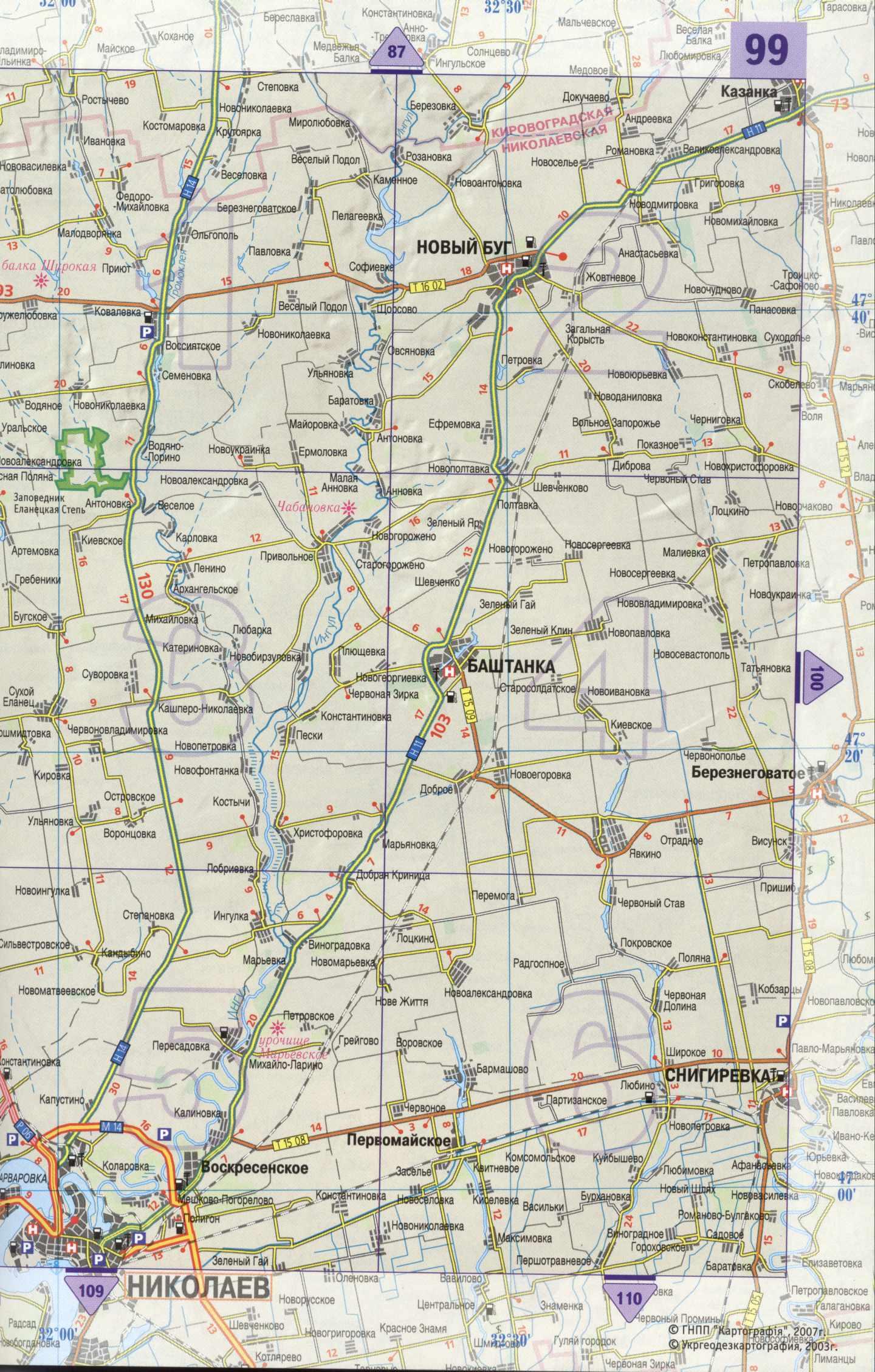 Украина подробная карта юга украины
