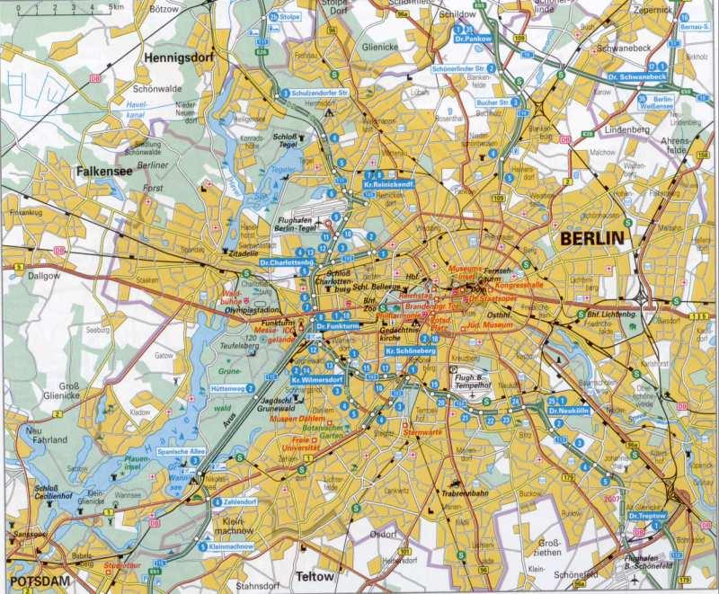 Германия, карта Берлина и окрестностей.  Транспортная схема г.Берлин, карта автомобильных магистралей.