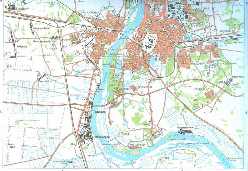 Омск, карта города