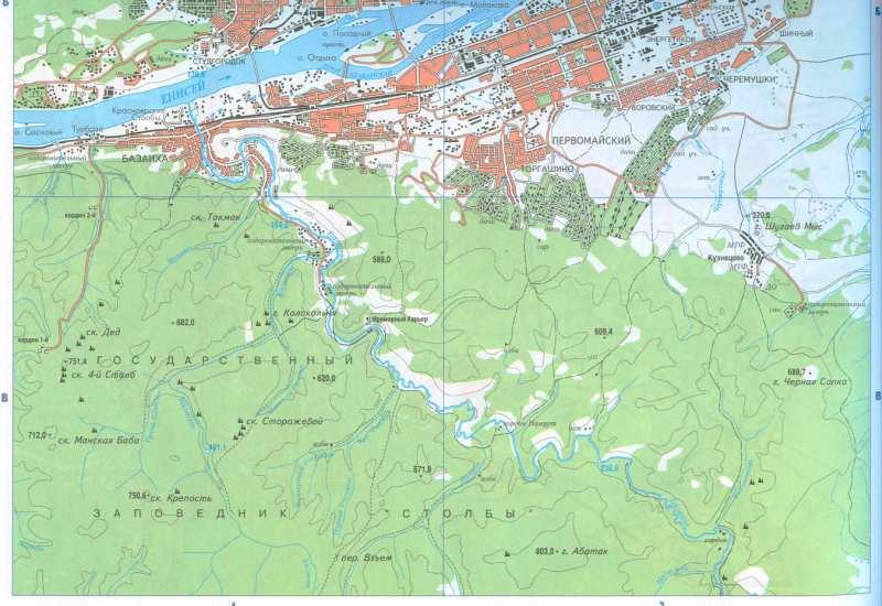 Карта Красноярска. Большая