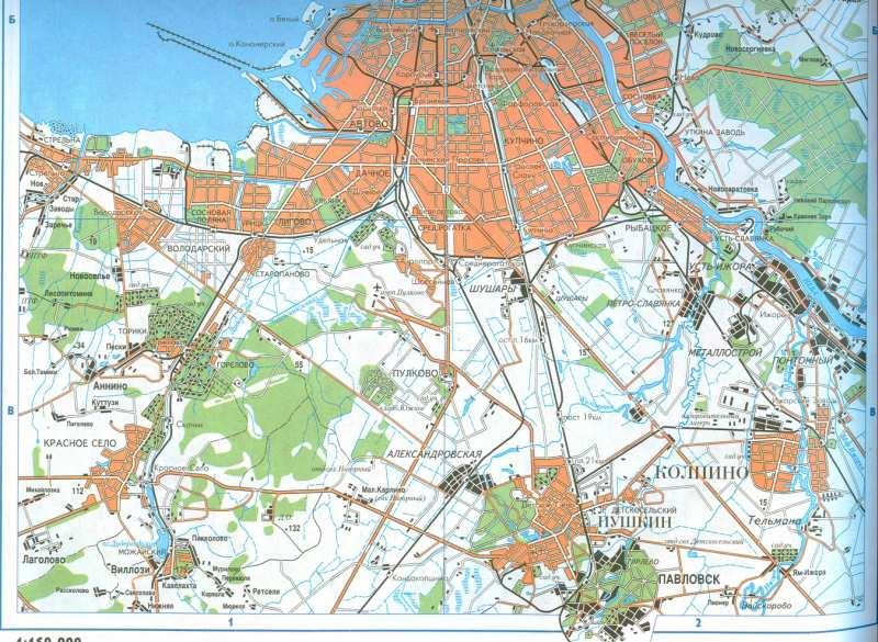 Карта санкт петербурга с пригородом