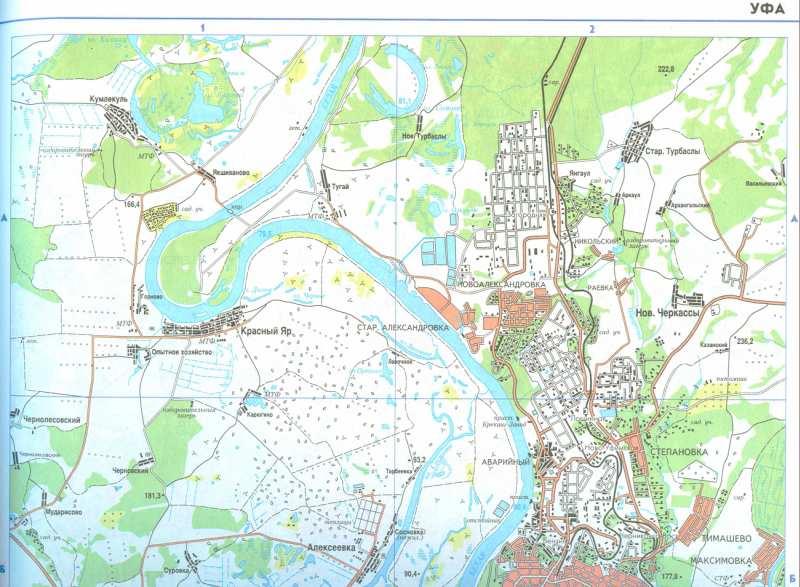 Карта Уфы и пригородов.
