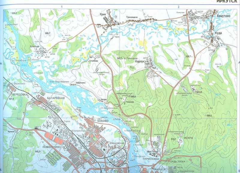Карта Иркутска и окрестностей.