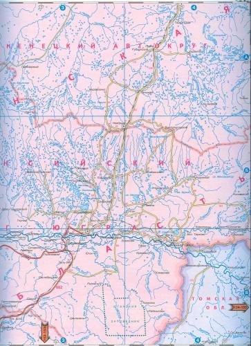 Карта дорог Западной Сибири.
