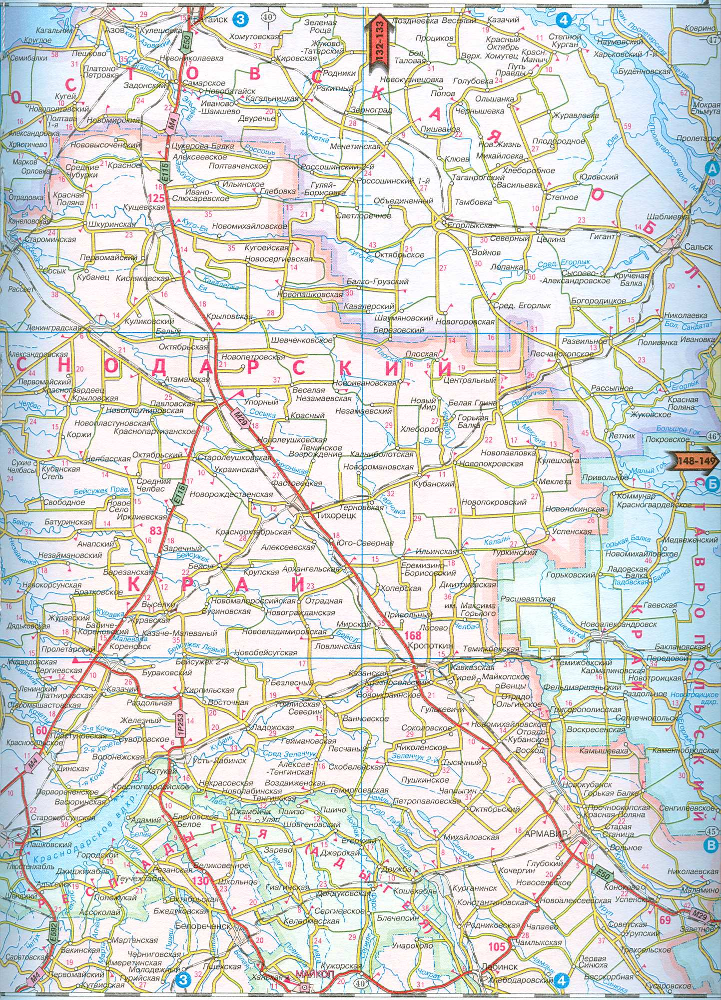 Карта краснодарского края карта