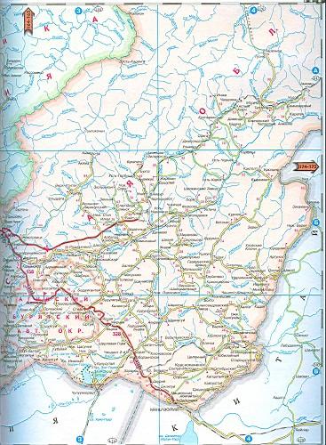 Обл большая карта дорог читинской обл
