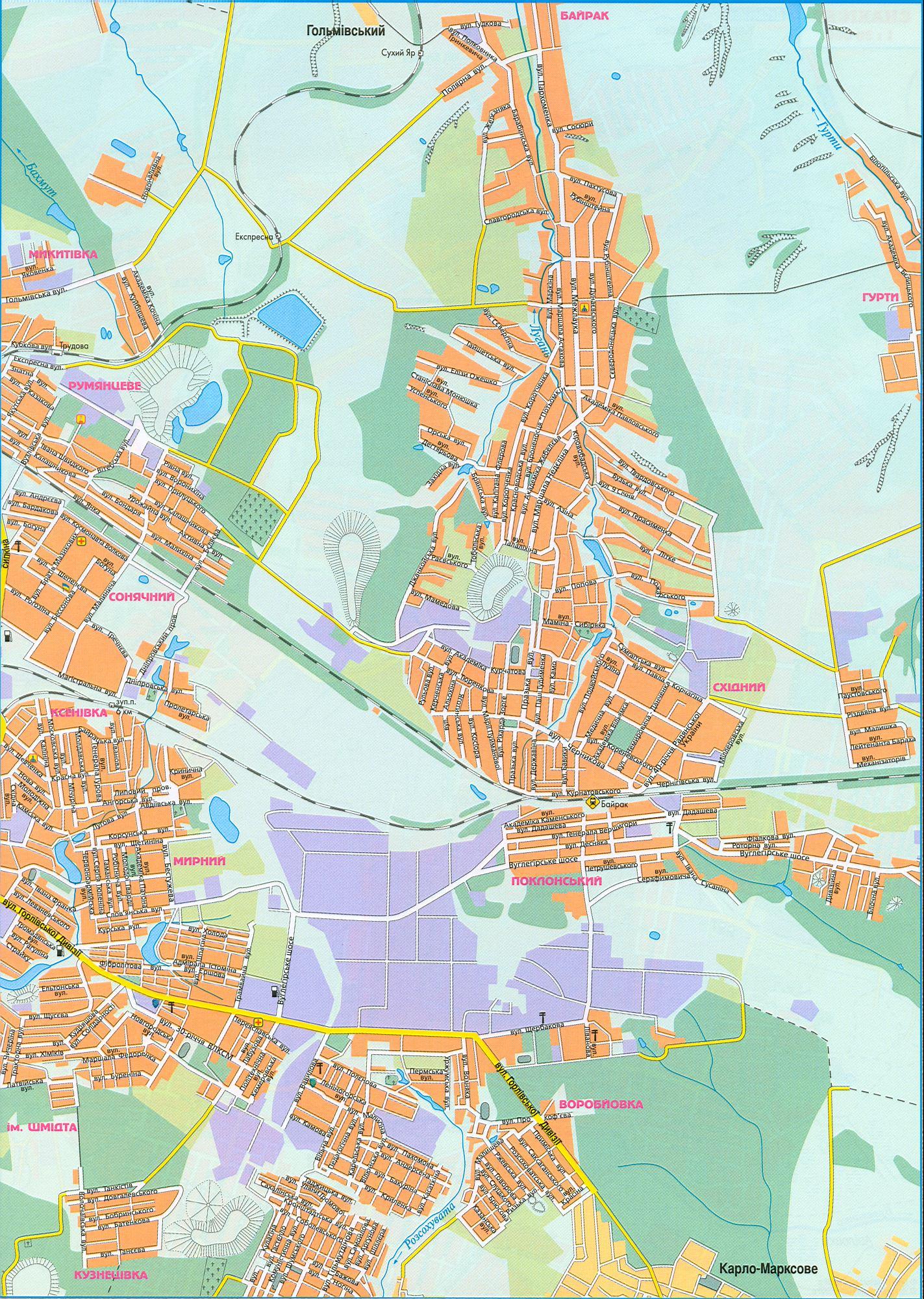 Карта Горловки.  Подробная схема улиц города Горловка, Донецкая обл, Донбасс.