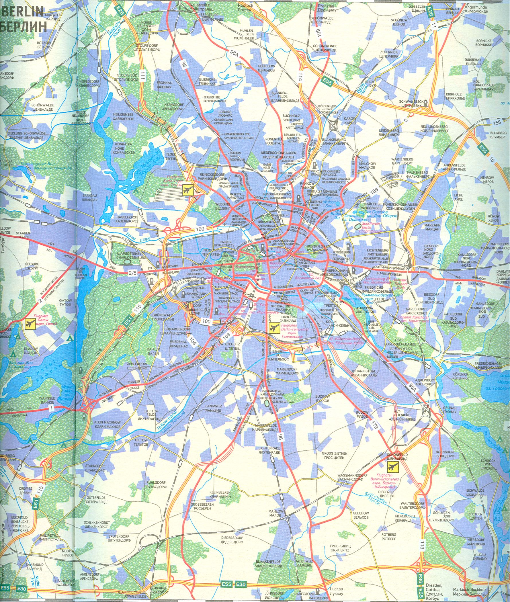Карта - схема транспортных магистралей Берлина, аэропорты, железные дороги.