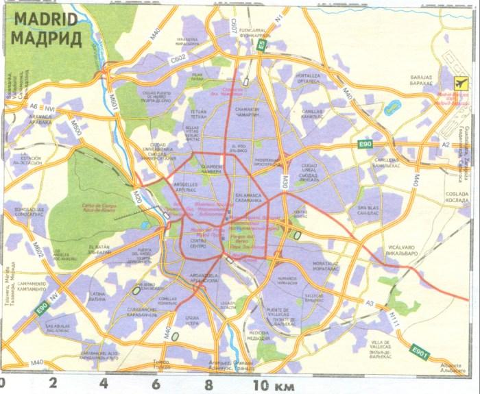 Испания, карта Мадрида. Транспортная карта-схема Мадрида: http://map-auto.ru/316464.html