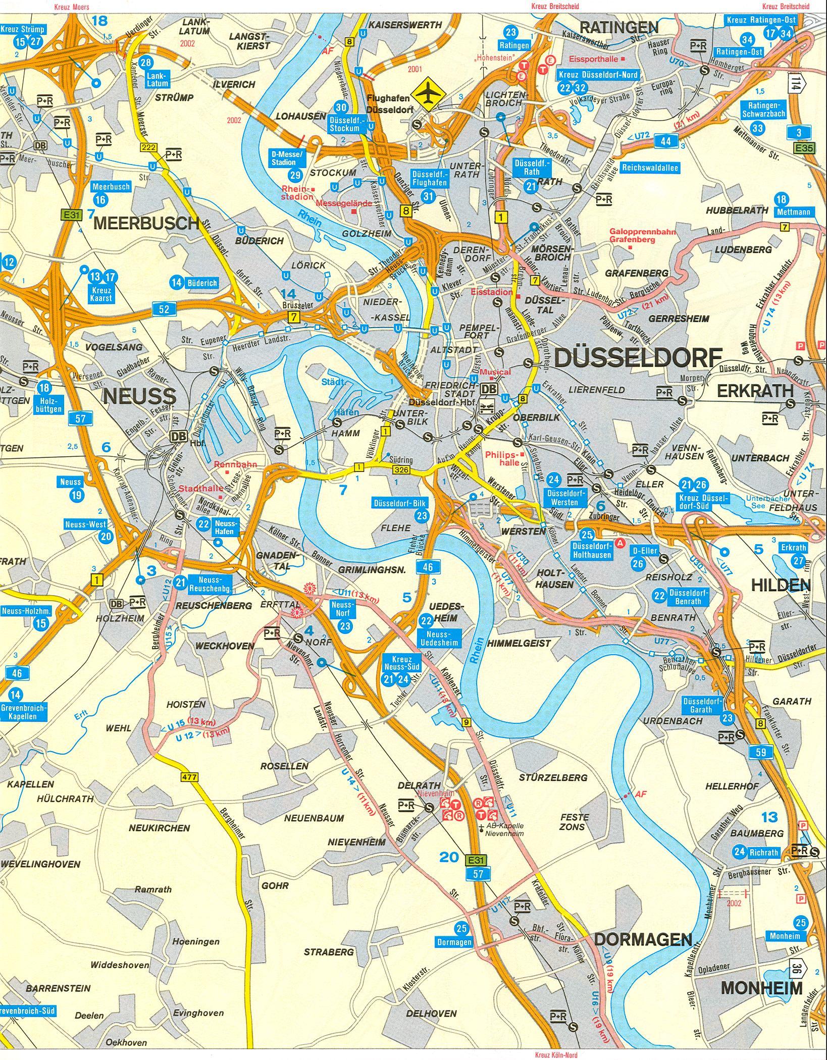 Германия, Дюссельдорф - транспортная схема, авто развязки, аэропорт.  Масштаб 1см:1км.