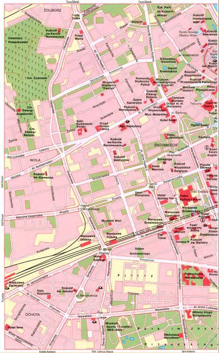 Польша, карта схема центра