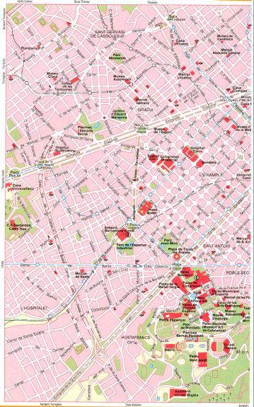 На 2 листах карта улиц г барселона
