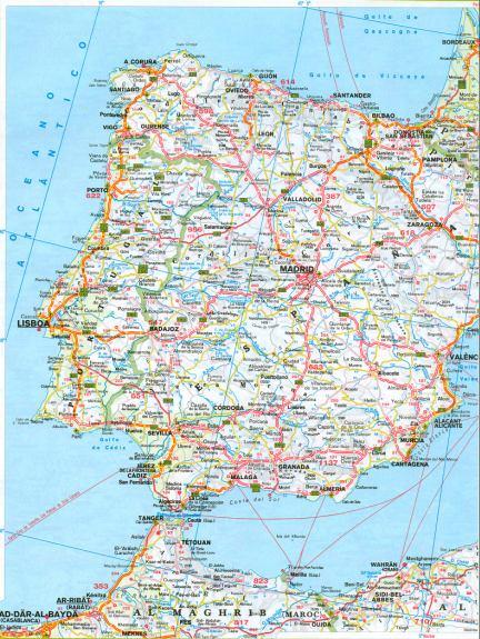 Карта южной Европы. Подробная