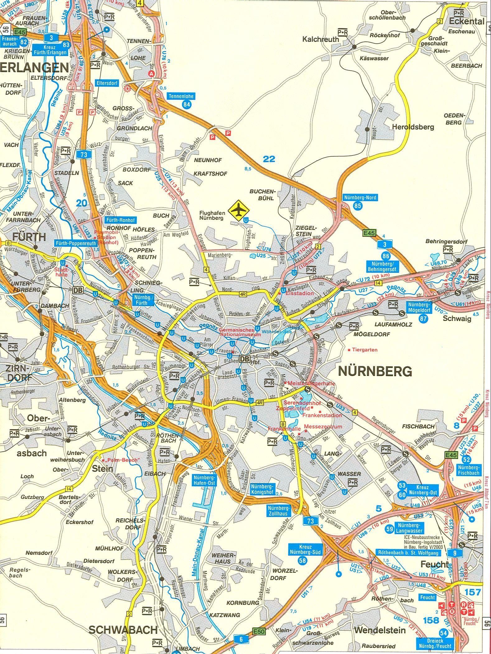 Карта схема автомобильных дорог Нюрнберга.  Скачать бесплатно карту.
