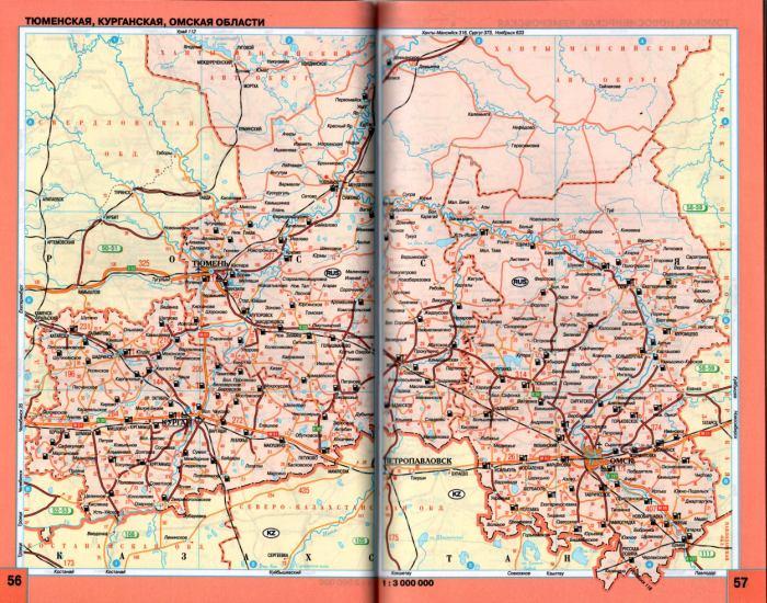 Подробная карта схема автодорог Омской, Тюменской, Курганской областей России.