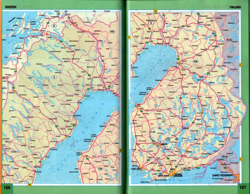 Карта схема дорог Финляндии и