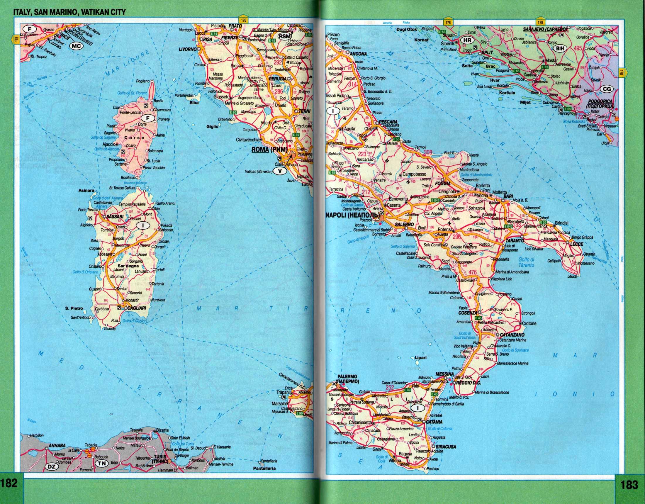 Италия карта автомобильных дорог