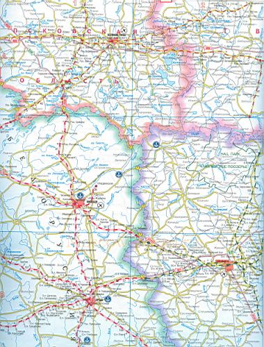 Карта автомобильных и железных