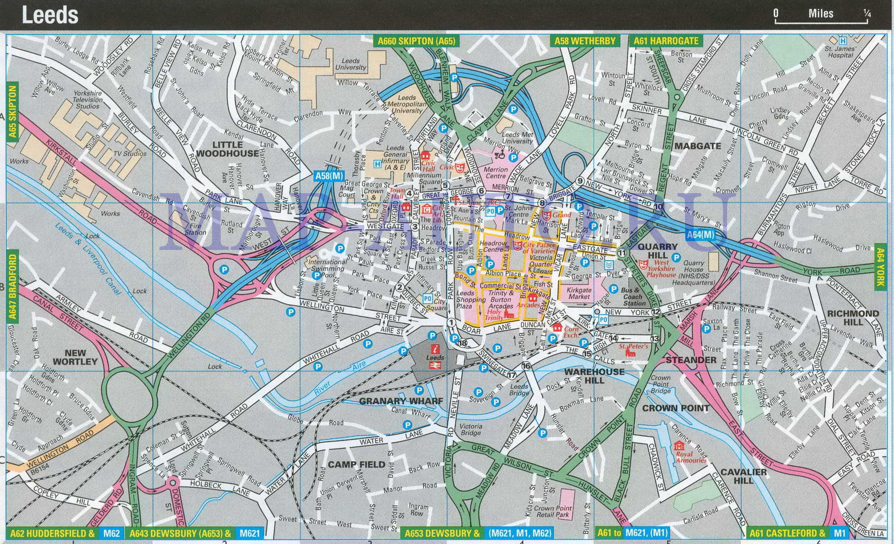 Англия карта лидса карта план города