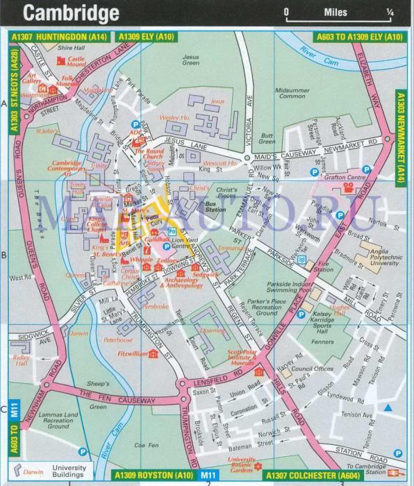 Англия карта кембриджа план схема